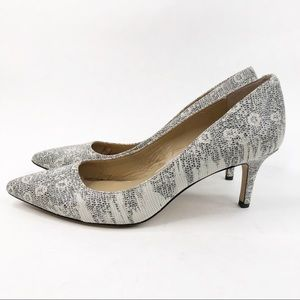 Ann Taylor Black and White Dotted Pumps Heels